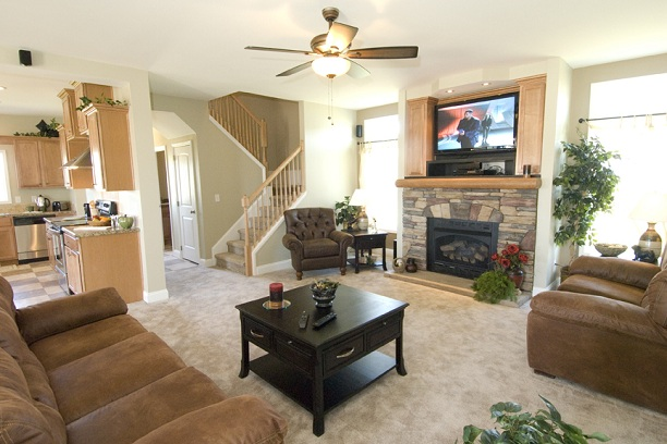Ashton II Modular home living room with open stairwell